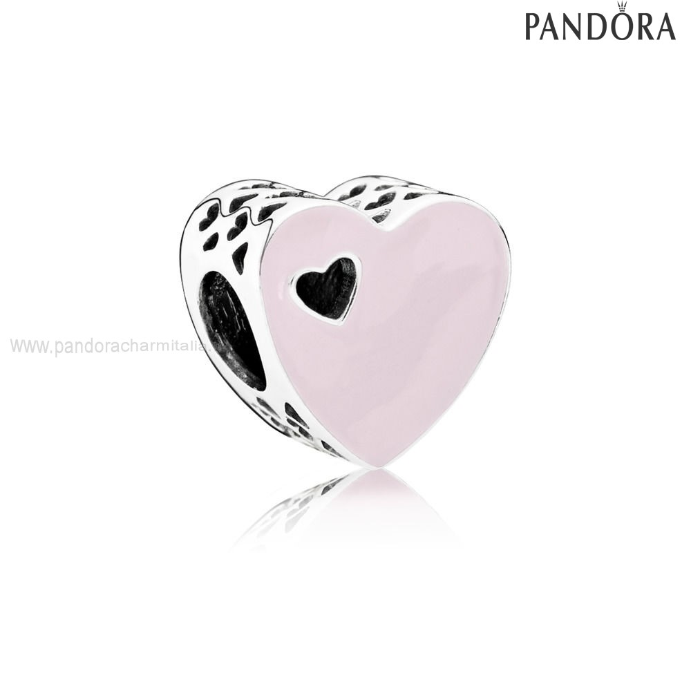 Negozi Pandora Heart Silver Charm With Pink Enamel