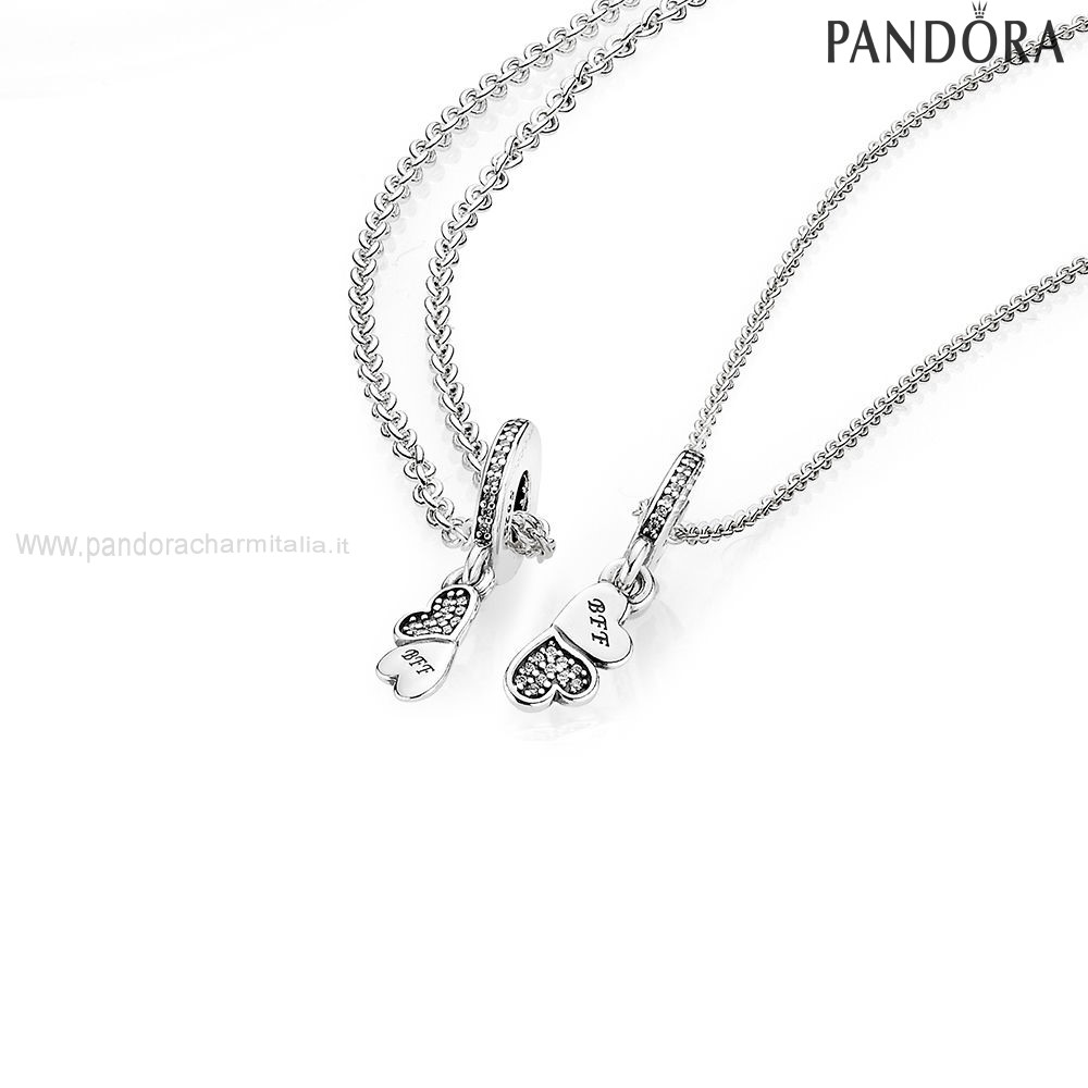 Negozi Pandora Hearts Silver Dangle With Clear Cubic Zirconia And Necklace