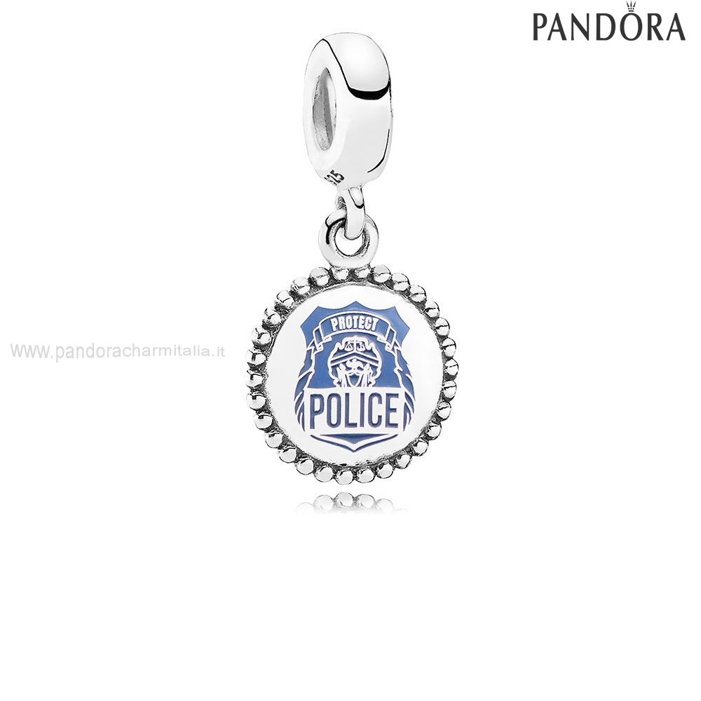 Negozi Pandora Police Dangle Charm Blue Enamel